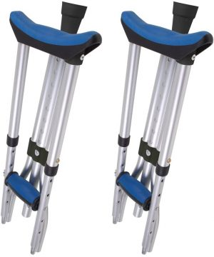 """Carex Folding Crutches - Folding Aluminum Underarm Crutches - Lightweight, Great for Travel or Work, 2 Crutches Included, for 4'11"""" to 6'4"""" People"""