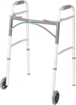 Drive Medical 10210-1 Deluxe Two Button Folding Walker with 5-Inch Wheels